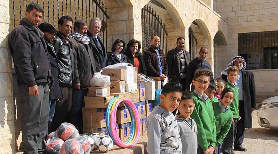 REA has completed its first social awareness project by being the first private school to visit Froush Beit Dajan School in the Jordan Valley and take with it donations of stationery and sports equipment. The first stop on the visit was to be welcomed by Dr. Azmi Balawneh, the head of the Directorate of education in Nablus. He was delighted to hear of the project, inspired by the REA pupils, and hoped there will be more links in the future. When the school group reached Froush Beit Dajan school they were greeted by the Principal, staff and selected pupils. The Principal hoped that this visit will encourage the pupils to continue to fight for the right to live on their land knowing others were thinking of them.